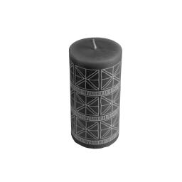 Bougie pilier ø6*h8cm ethnic folk coloris Noir