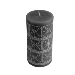 Bougie pilier ø7*h14cm ethnic folk coloris Noir