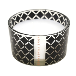 bougie verre parfum vanille- noir et blanc - h6.2cm