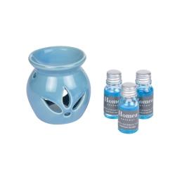 brule-parfum ceramique + inclus 3 bouteilles de 10ml parfum cristaux de mer