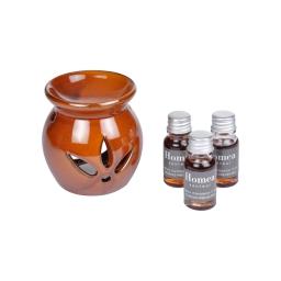 brule-parfum ceramique + inclus 3 bouteilles de 10ml parfum écorces précieuses