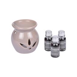 brule-parfum ceramique + inclus 3 bouteilles de 10ml parfum notes musquées