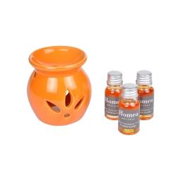 brule-parfum ceramique + inclus 3 bouteilles de 10ml parfum plaisirs sucrés