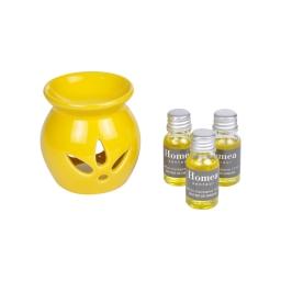 brule-parfum ceramique + inclus 3 bouteilles de 10ml parfum sentier de mimosa