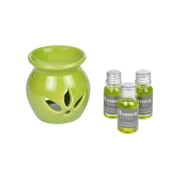 brule-parfum ceramique + inclus 3 bouteilles de 10ml parfum thé vert des geishas