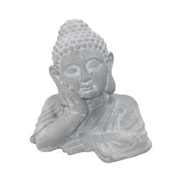 buste bouddha penseur magnesie 35*24.5*h34.5cm blanc