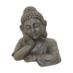 buste bouddha penseur magnesie 35*24.5*h34.5cm chocolat
