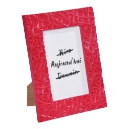 """cadre pp """"hier aujourd'hui demain"""" 20*25cm geometrique rouge"""