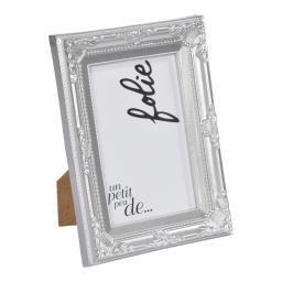 """cadre pp """"un petit peu de folie"""" 20*25cm baroque argent - en display de 12"""