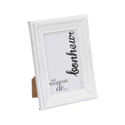 """cadre pp """"un soupcon de bonheur"""" 13*18cm baroque blanc - en display de 12"""