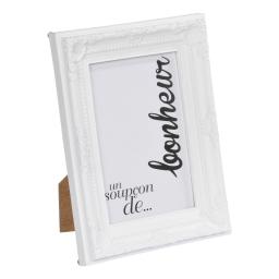 """cadre pp """"un soupcon de bonheur"""" 20*25cm baroque blanc - en display de 12"""