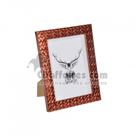 "cadre ps ""cerf nature"" 13*18cm tressé cuivre - en display de 12"
