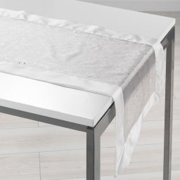 Chemin de table 40 x 140 cm organza imprime+satin festille Blanc
