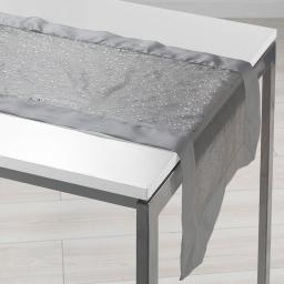 Chemin de table 40 x 140 cm organza imprime+satin festille Gris