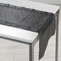 Chemin de table 40 x 140 cm organza imprime+satin festille Noir