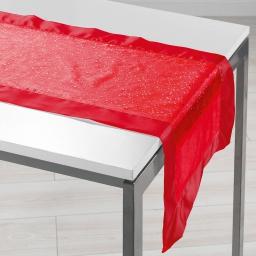 Chemin de table 40 x 140 cm organza imprime+satin festille Rouge