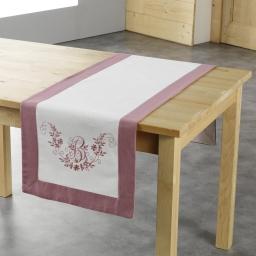 Chemin de table 40 x 140 cm polyester brode bonheur Rose/Blanc