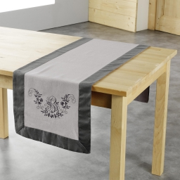 Chemin de table 40 x 140 cm polyester brode bonheur Taupe/Anthracite