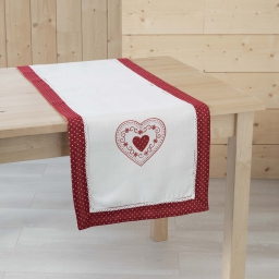 Chemin de table 40 x 140 cm polyester brode monlisa Rouge