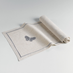 Chemin de table 40 x 140 cm polyester ramie brode opaline Gris