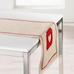 Chemin de table 40 x 150 cm lin/polyester mont blanc Rouge