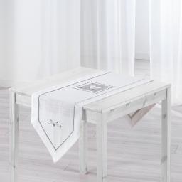 Chemin de table 40 x 150 cm polyester/lin amandine Blanc