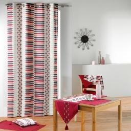 Chemin de table pompons 40 x 140 cm coton uni uni Rouge