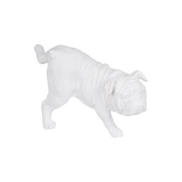 chien pause pipi en polyresine blanc h.23.5*l.12.5*p.14cm