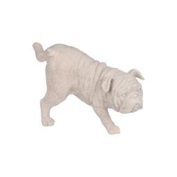 chien pause pipi en polyresine taupe h.23.5*l.12.5*p.14cm