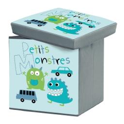coffre de rangement pliable 38 x 38 x 38 cm polyester imprime petits monstres
