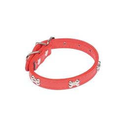 collier avec charms os en simili cuir 30*1.3cm - rouge