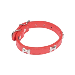 collier avec charms os en simili cuir 35*1.6cm - rouge