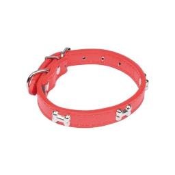 collier avec charms os en simili cuir 35*1.6cm - rouge