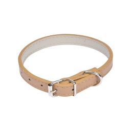 collier simili cuir 30*1.2cm - bicolore café/écru