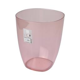 corbeille plastique translucide 5,5l vitamine rose poudré