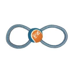 corde en 8 avec balle de tennis h11*4*2.5cm - 1 coloris bleu/gris
