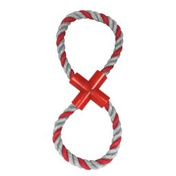 corde en 8 avec embout plastique rouge h11*4*1cm - 1 coloris rouge/gris