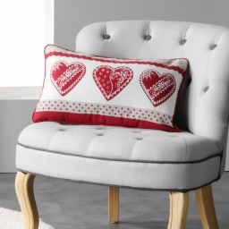 Coussin 30 x 50 cm coton imprime asmara Rouge