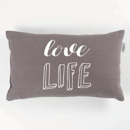 Coussin 30 x 50 cm coton imprime pacifique  love Taupe
