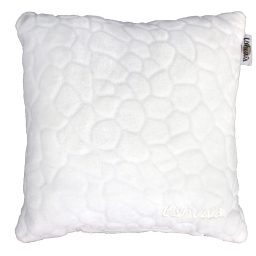 Coussin 40 x 40 cm flanelle relief brode ushuaia galets Blanc