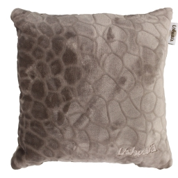 Coussin 40 x 40 cm flanelle relief brode ushuaia galets Caramel