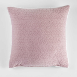 Coussin 40 x 40 cm jersey sherpa tricoline Rose