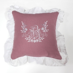 Coussin 40 x 40 cm polyester brode bonheur Rose/Blanc