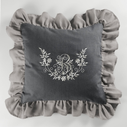Coussin 40 x 40 cm polyester brode bonheur Taupe/Anthracite