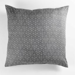 Coussin 60 x 60 cm polycoton imprime optic Gris