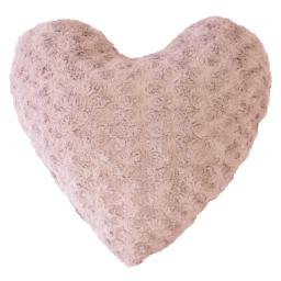 Coussin coeur 40 x 40 cm imitation fourrure himalaya Rose