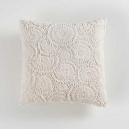 Coussin compresse 40 x 40 cm effet fourrure relief eloise Naturel