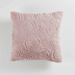 Coussin compresse 40 x 40 cm effet fourrure relief eloise Rose