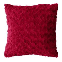 Coussin compresse 40 x 40 cm imitation fourrure himalaya Rouge