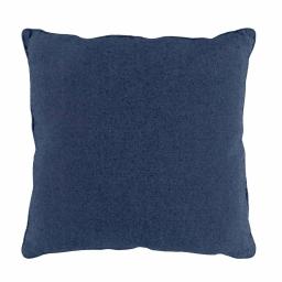 Coussin compresse passepoil 60 x 60 cm polycoton uni texas Bleu